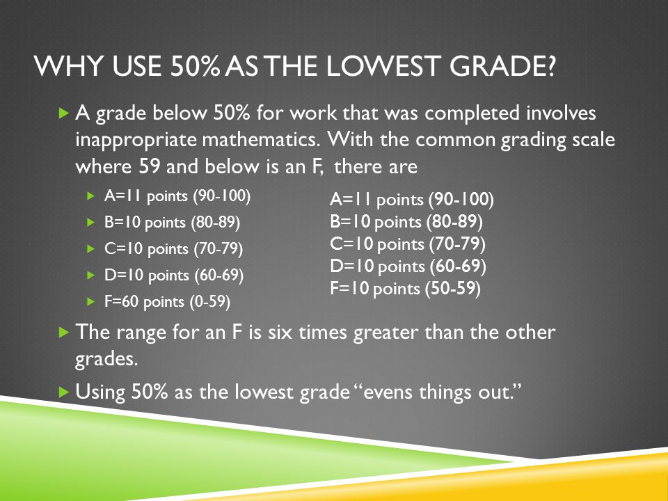 WHY USE 50% AS THE LOWEST GRADE.