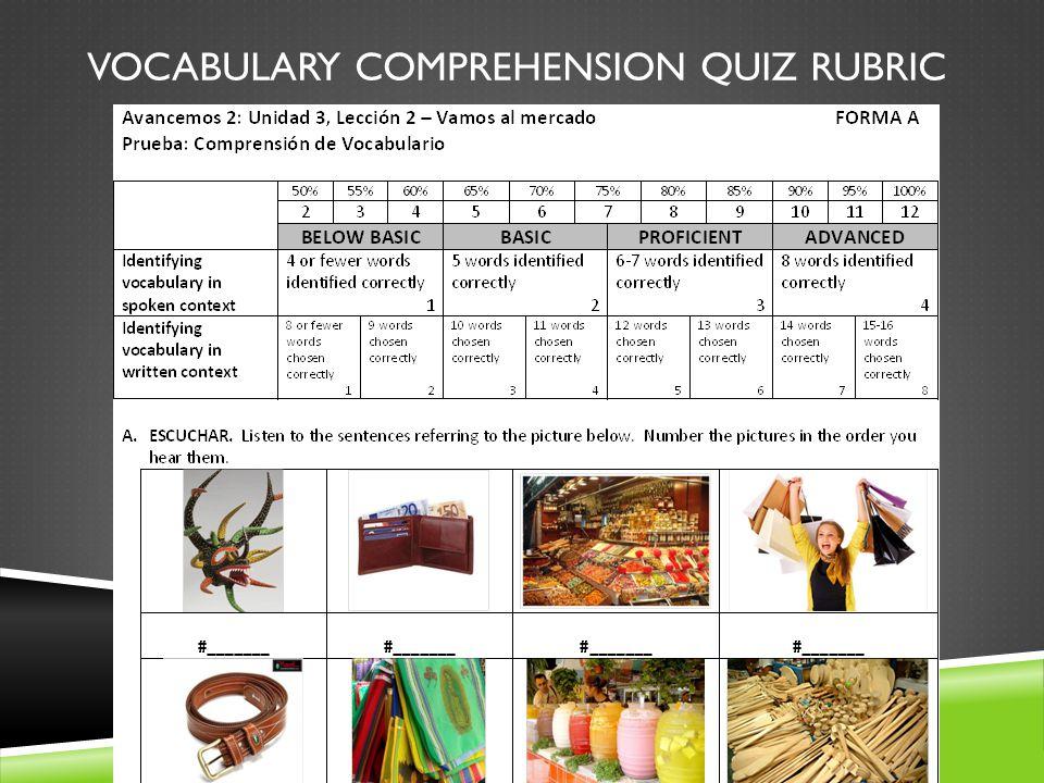 VOCABULARY COMPREHENSION QUIZ RUBRIC