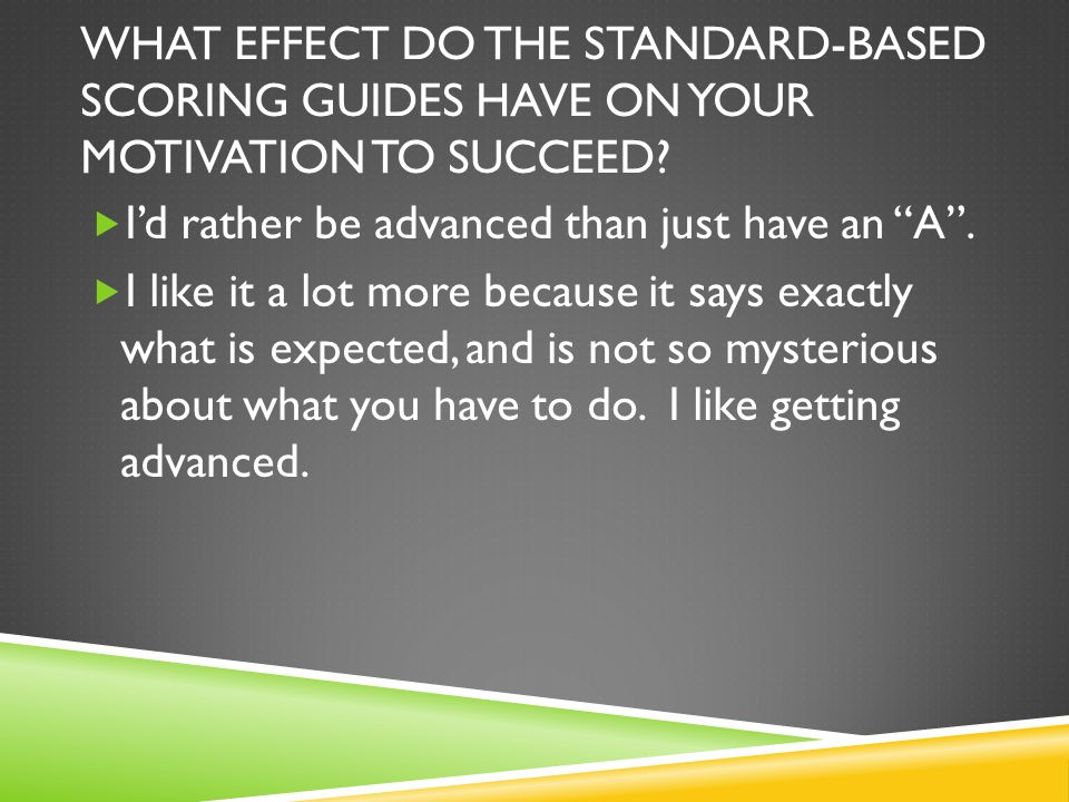 WHAT EFFECT DO THE STANDARD-BASED SCORING GUIDES HAVE ON YOUR MOTIVATION TO SUCCEED.