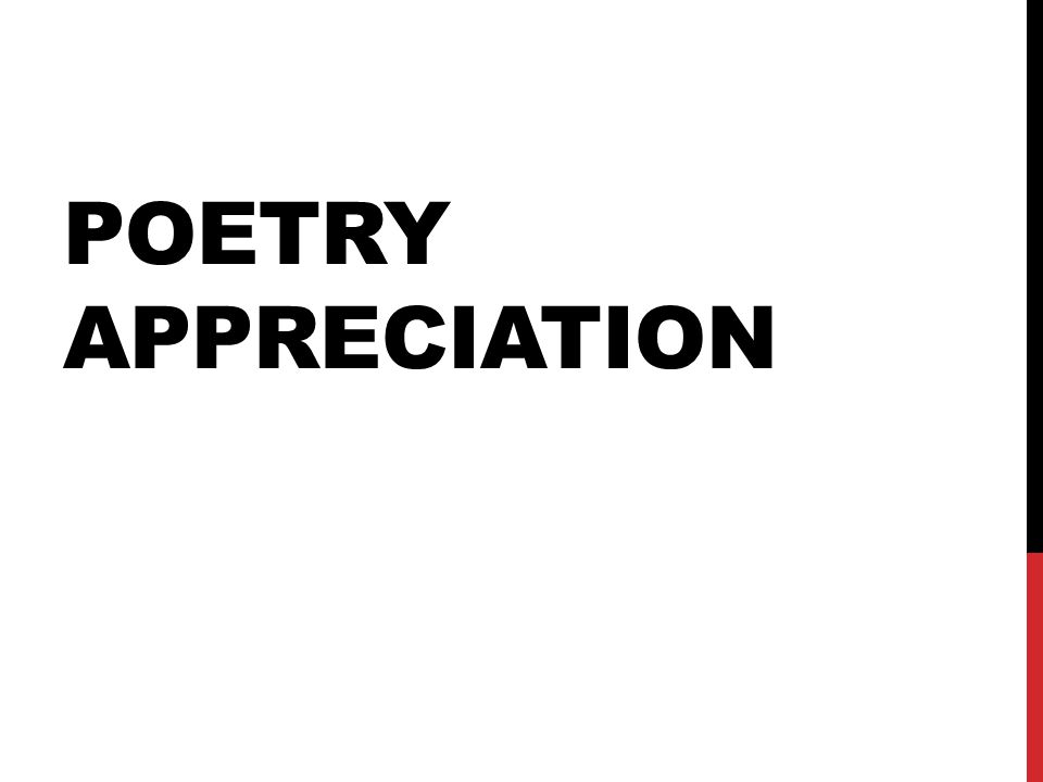 POETRY APPRECIATION