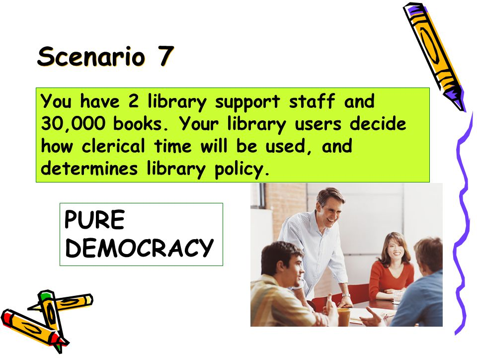 Scenario 6 SINGAPOREAN DEMOCRACY You have 2 library support staff and 30,000 books.