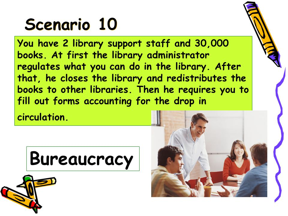 Scenario 9 ANARCHY You have 2 library support staff and 30,000 books.