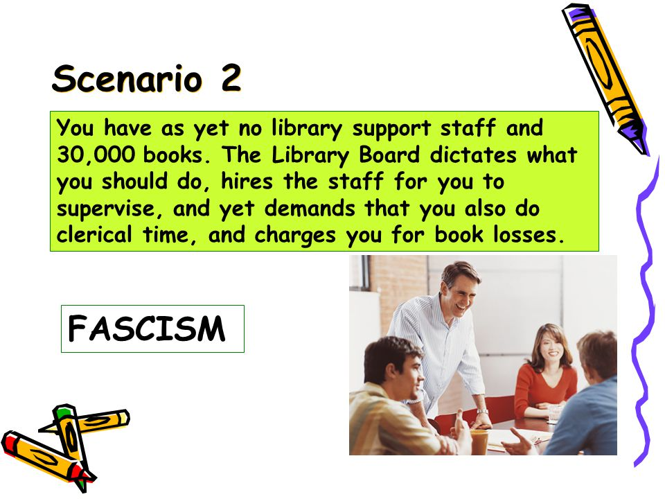 Scenario 1 FEUDALISM You have two library support staff and 30,000 books.