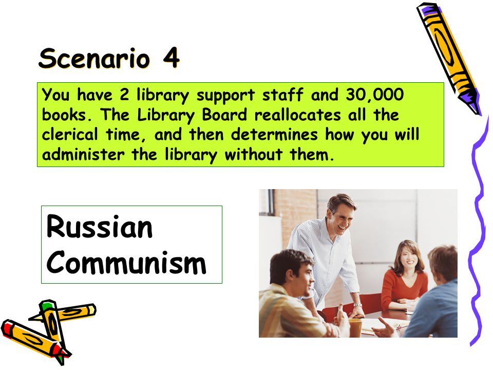 Scenario 3 Pure Communism You have 2 library support staff and 30,000 books.