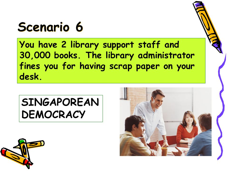Scenario 5 Martial Law /Dictatorship You have 2 library support staff and 30,000 books.