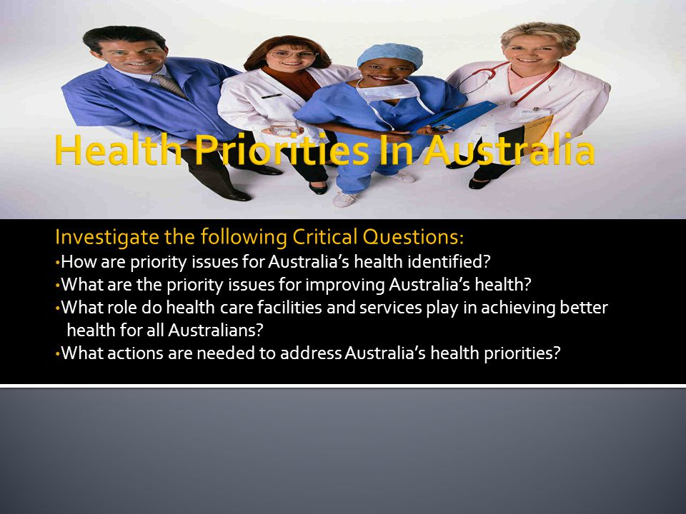 Investigate the following Critical Questions: How are priority issues for Australia's health identified? What are the priority issues for improving Au