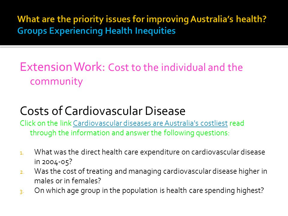 Extension Work: Cost to the individual and the community Costs of Cardiovascular Disease Click on the link Cardiovascular diseases are Australia's cos