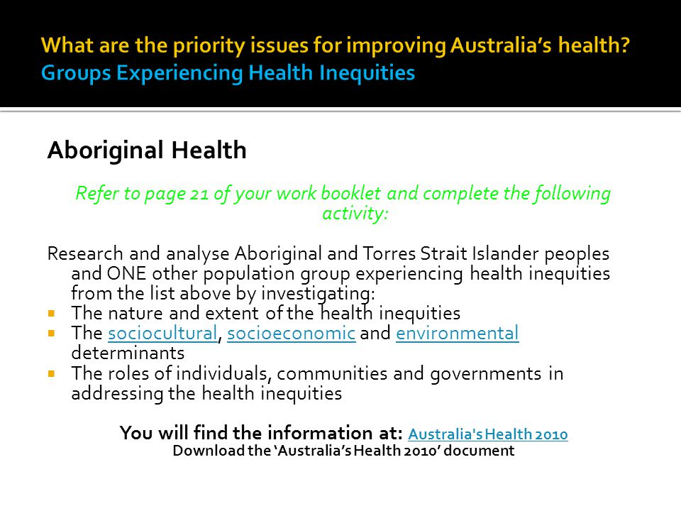 Refer to page 21 of your work booklet and complete the following activity: Research and analyse Aboriginal and Torres Strait Islander peoples and ONE