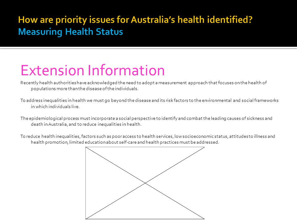 Extension Information Recently health authorities have acknowledged the need to adopt a measurement approach that focuses on the health of populations