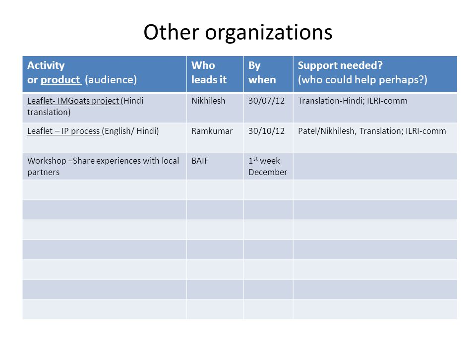 Other organizations Activity or product (audience) Who leads it By when Support needed.