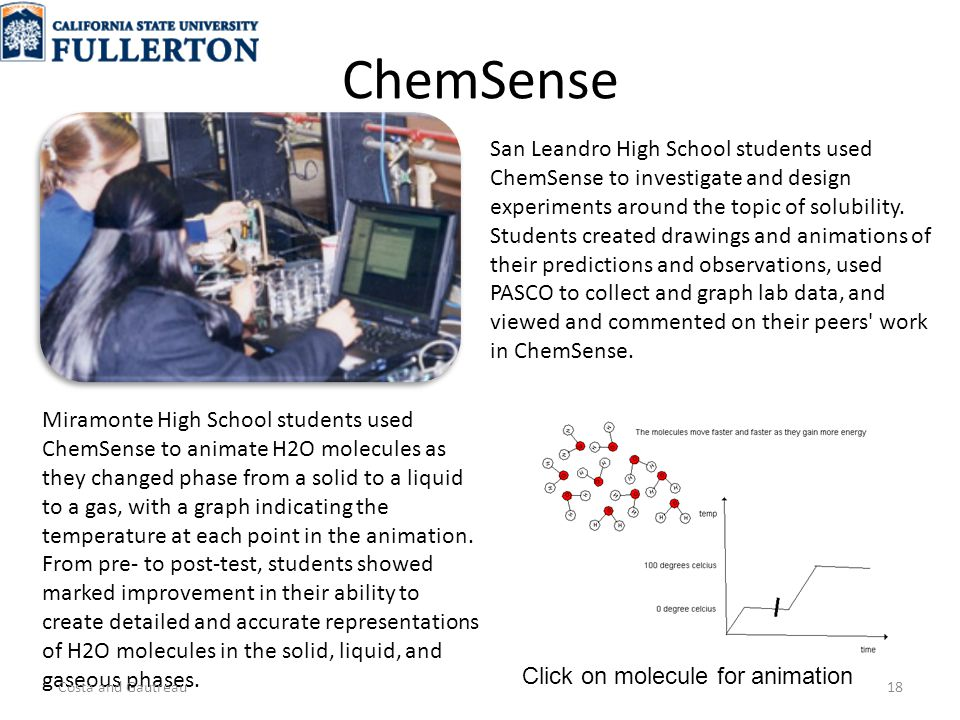 ChemSense San Leandro High School students used ChemSense to investigate and design experiments around the topic of solubility.