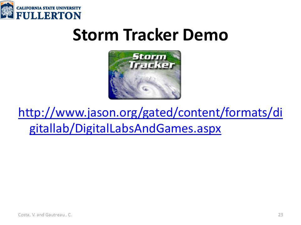 Storm Tracker Demo http://www.jason.org/gated/content/formats/di gitallab/DigitalLabsAndGames.aspx Costa, V.
