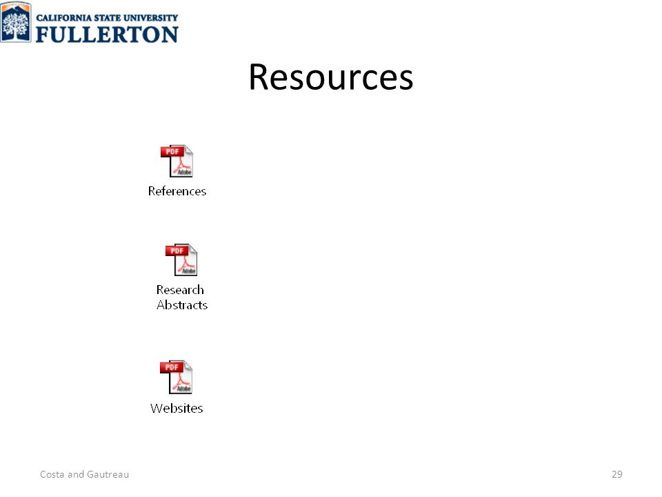 Resources Costa and Gautreau29