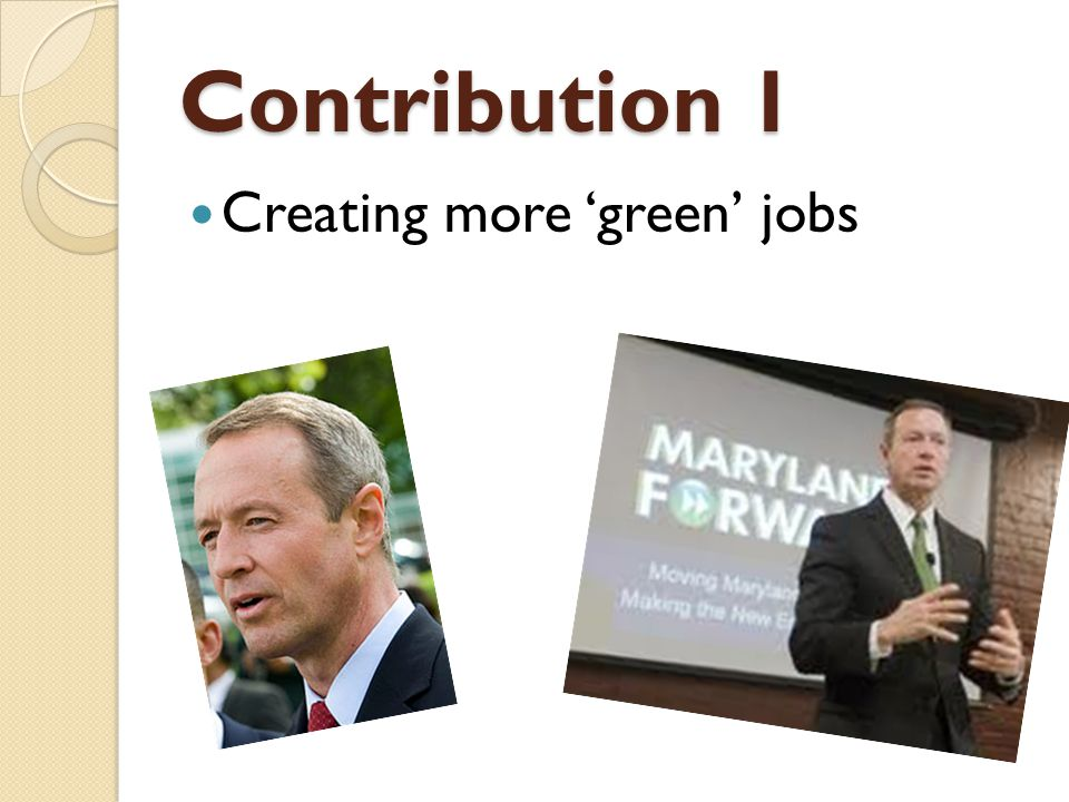 Contribution 1 Creating more 'green' jobs