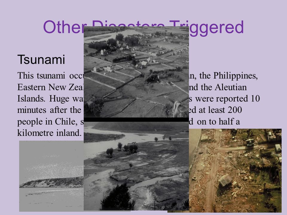 Other Disasters Triggered Tsunami This tsunami occurred in Chile, Hawaii, Japan, the Philippines, Eastern New Zealand, South East Australia and the Aleutian Islands.