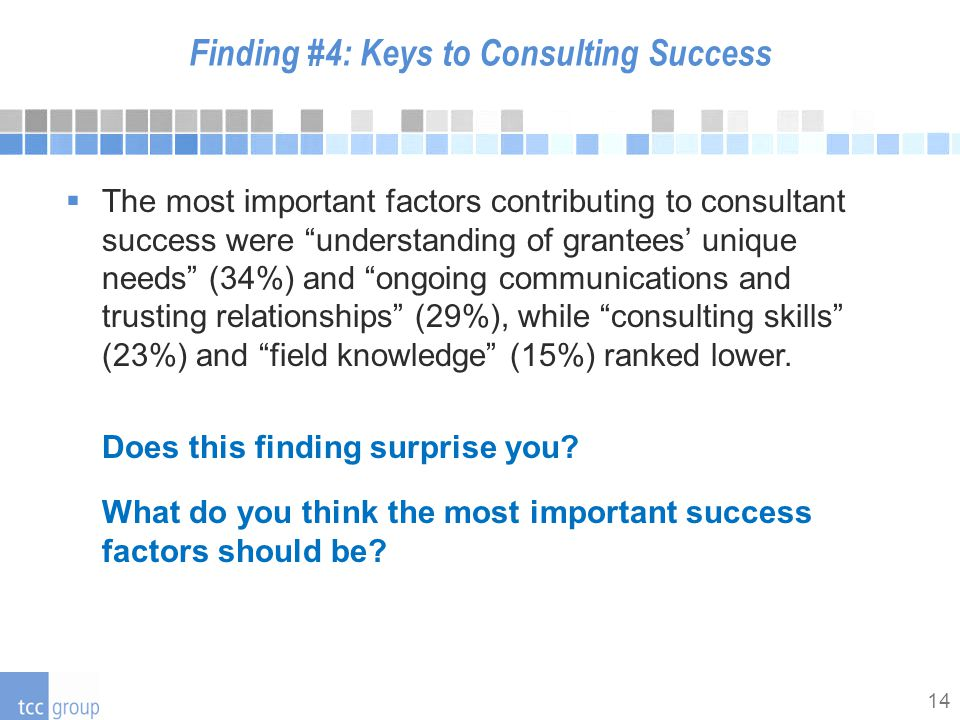 14 Finding #4: Keys to Consulting Success  The most important factors contributing to consultant success were understanding of grantees' unique needs (34%) and ongoing communications and trusting relationships (29%), while consulting skills (23%) and field knowledge (15%) ranked lower.