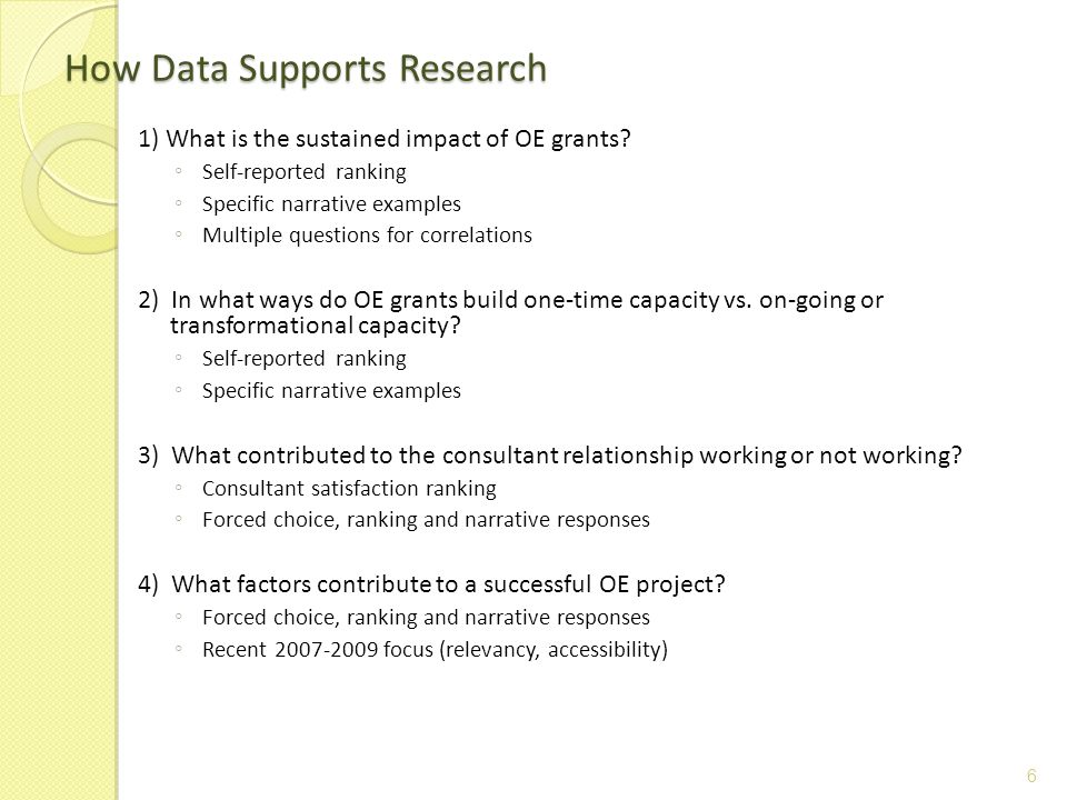 1) What is the sustained impact of OE grants? ◦ Self-reported ranking ◦ Specific narrative examples ◦ Multiple questions for correlations 2) In what w