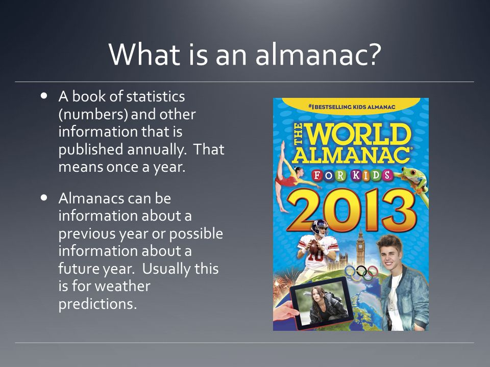 What can you find in an almanac.