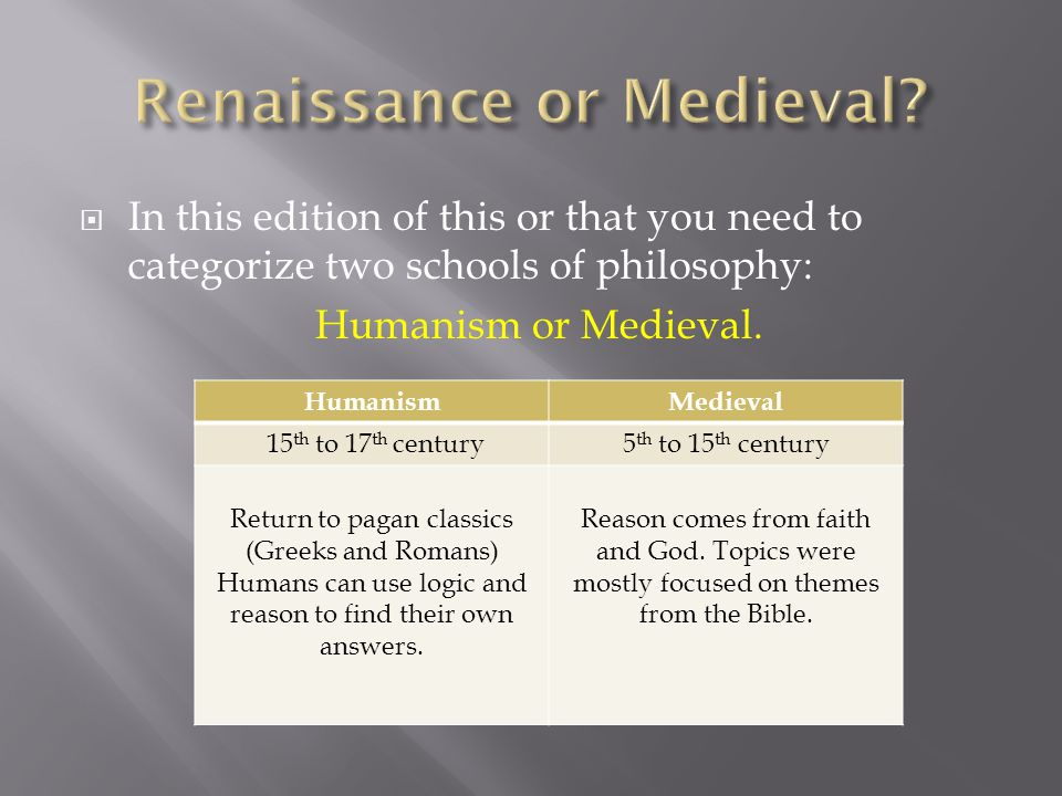  In this edition of this or that you need to categorize two schools of philosophy: Humanism or Medieval. HumanismMedieval 15 th to 17 th century5 th