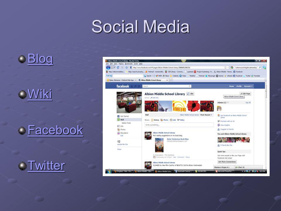 Social Media Blog Wiki Facebook Twitter