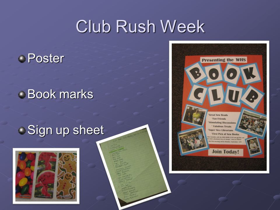 Club Rush Week Poster Book marks Sign up sheet