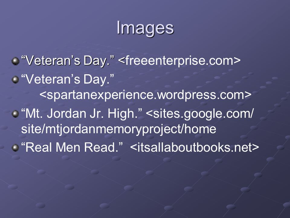 Images Veteran's Day. Mt. Jordan Jr.