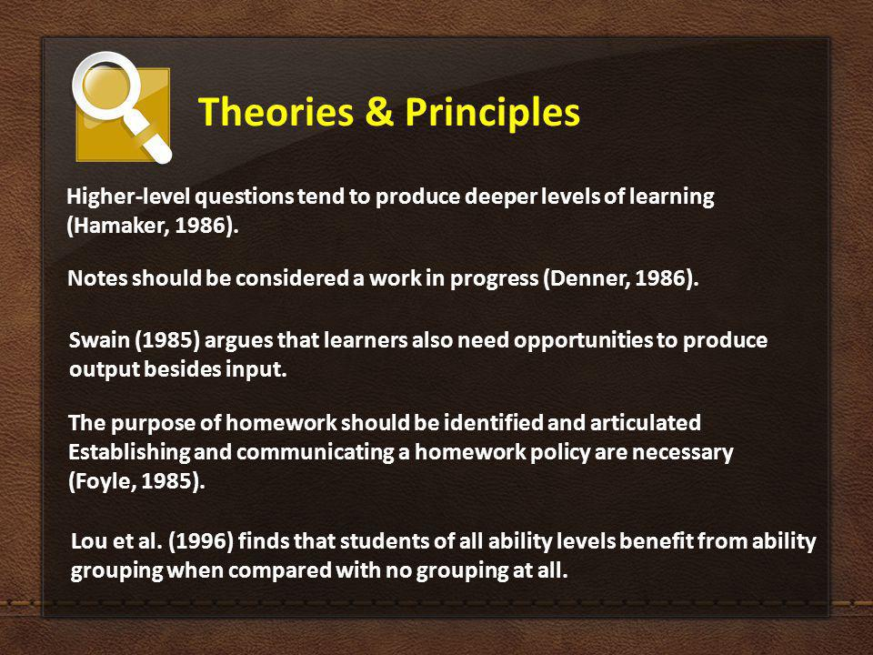 Theories & Principles The purpose of homework should be identified and articulated Establishing and communicating a homework policy are necessary (Foyle, 1985).