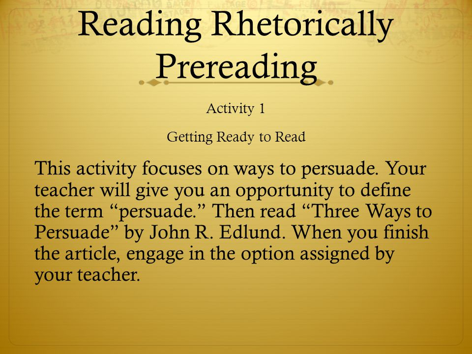 Activity 9: Considering the Structure of the Text Now that you have read and discussed the content of the Rifkin essay, you are ready to begin analyzing the organizational structure.