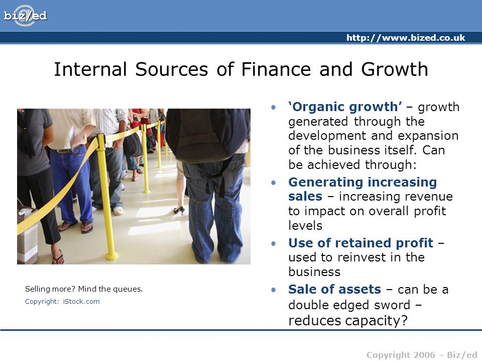 http://www.bized.co.uk Copyright 2006 – Biz/ed Internal Sources of Finance and Growth 'Organic growth' – growth generated through the development and expansion of the business itself.