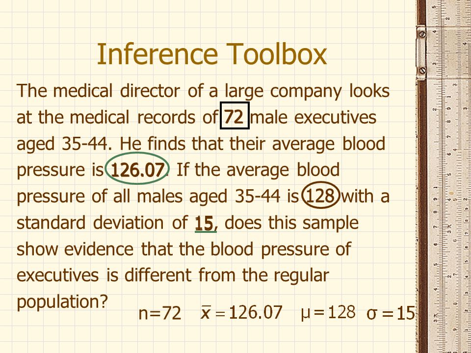Inference Toolbox The medical director of a large company looks at the medical records of 72 male executives aged