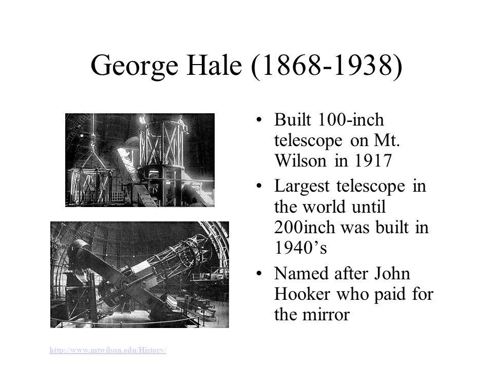 George Hale (1868-1938) Built 100-inch telescope on Mt.