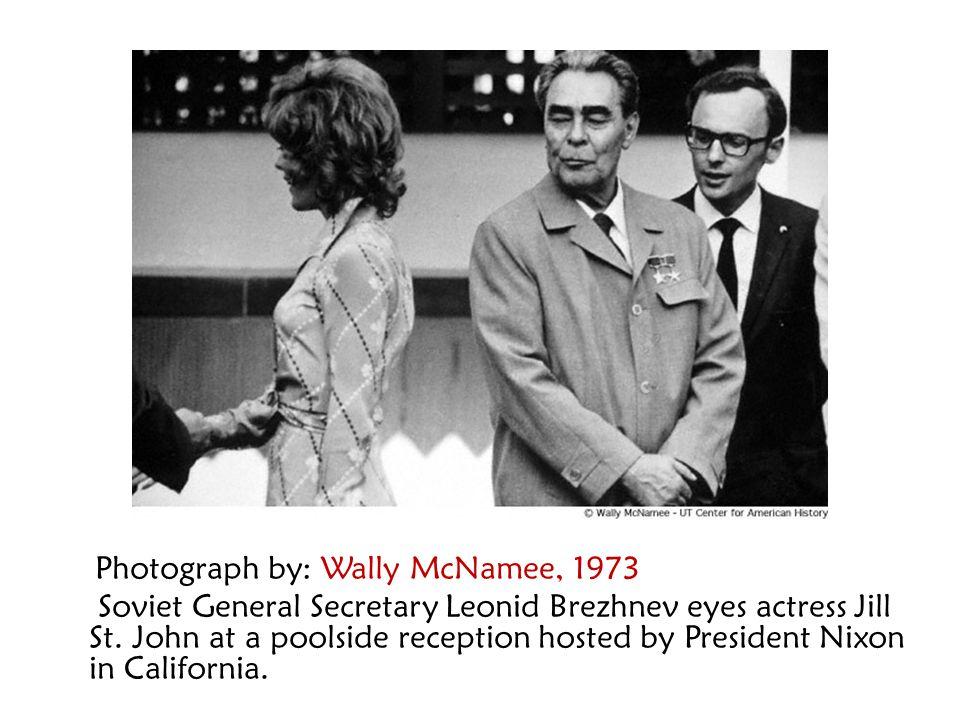 Photograph by: Wally McNamee, 1973 Soviet General Secretary Leonid Brezhnev eyes actress Jill St. John at a poolside reception hosted by President Nix