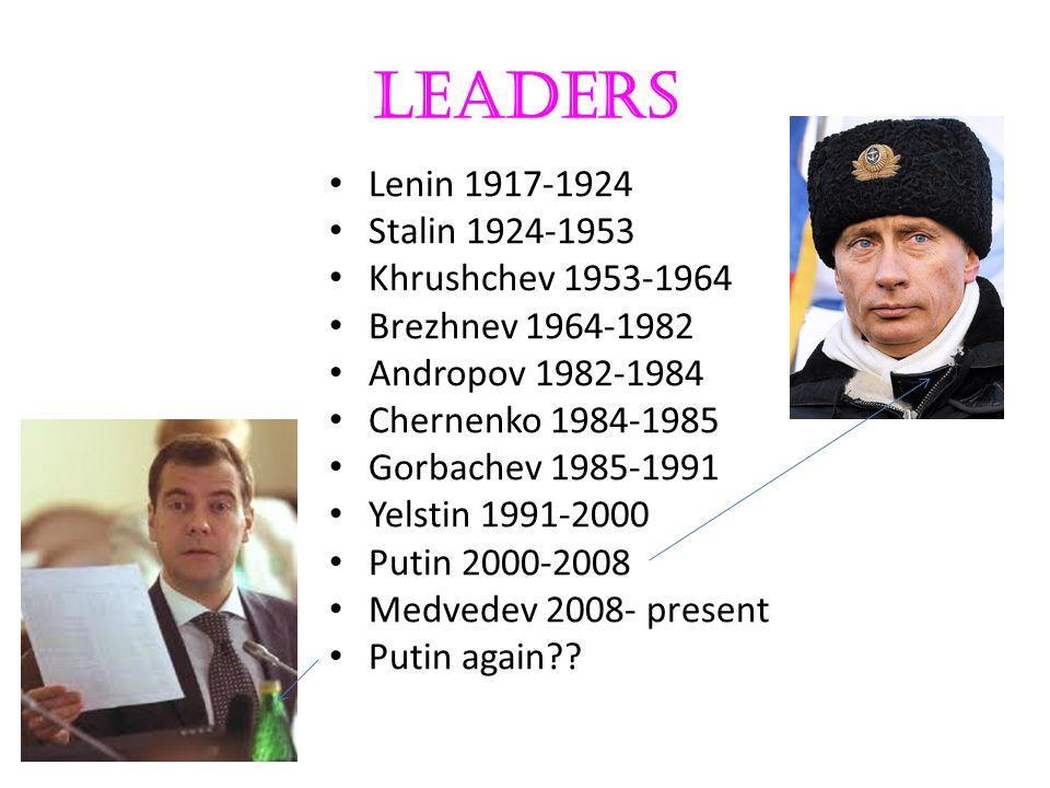 Leaders Lenin 1917-1924 Stalin 1924-1953 Khrushchev 1953-1964 Brezhnev 1964-1982 Andropov 1982-1984 Chernenko 1984-1985 Gorbachev 1985-1991 Yelstin 19