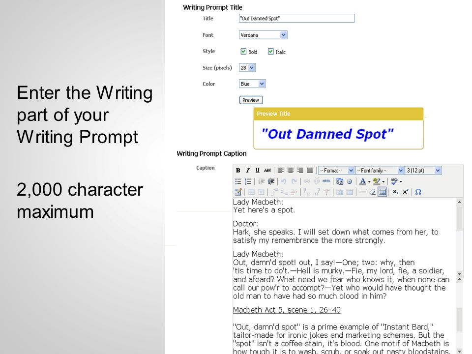 Enter the Writing part of your Writing Prompt 2,000 character maximum