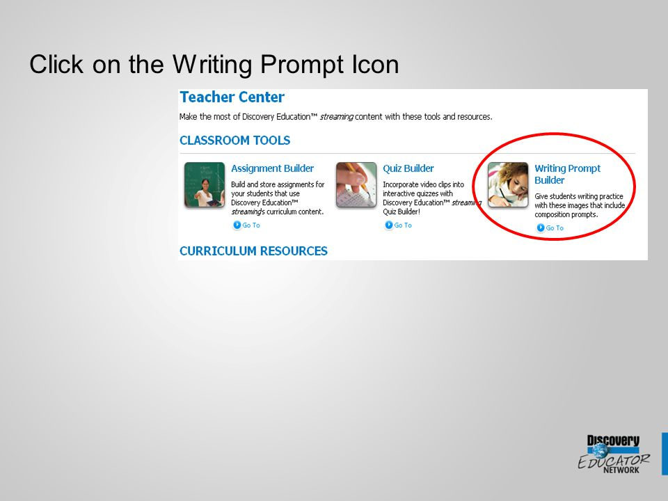 Creating and Searching Click on the Search button to search for existing Writing Prompts Click on the Copy link to add the Writing Prompt to your content or click on the Writing Prompt link to view the prompt