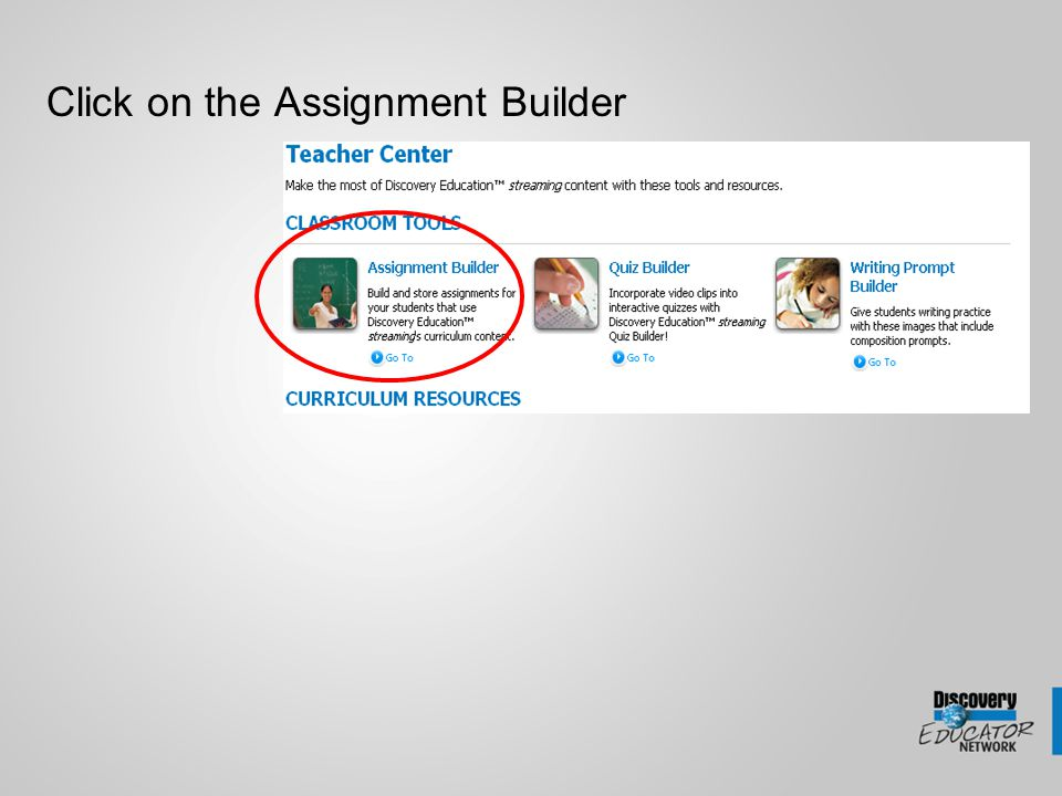 Click on the Assignment Builder