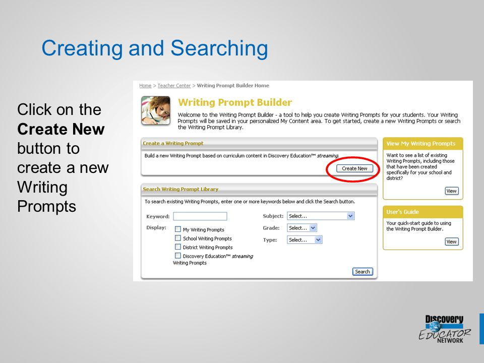 Creating a Quiz Click on the Create New Button