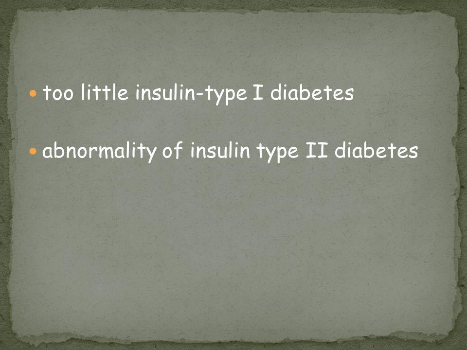 too little insulin-type I diabetes abnormality of insulin type II diabetes