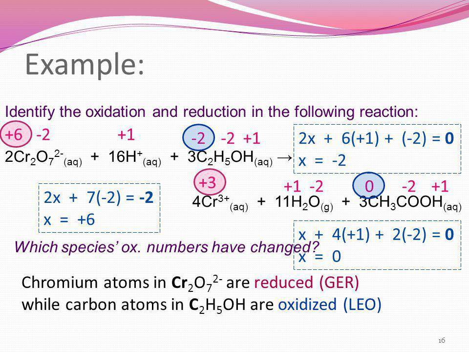 Example: Identify the oxidation and reduction in the following reaction: 2Cr 2 O 7 2- (aq) + 16H + (aq) + 3C 2 H 5 OH (aq) → 4Cr 3+ (aq) + 11H 2 O (g)
