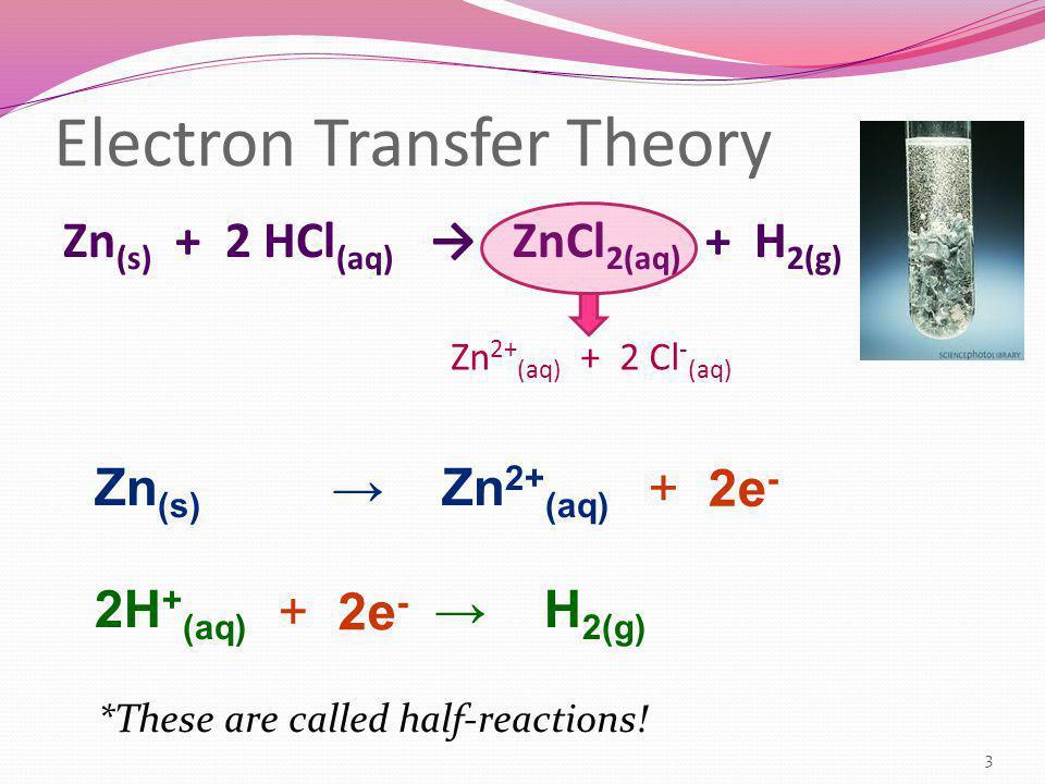 Electron Transfer Theory Zn (s) + 2 HCl (aq) → ZnCl 2(aq) + H 2(g) Zn (s) → Zn 2+ (aq) 2H + (aq) → H 2(g) Zn 2+ (aq) + 2 Cl - (aq) + 2e - *These are c