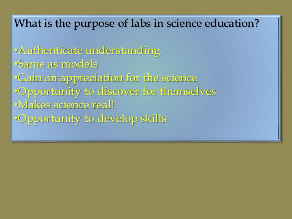What is the purpose of labs in science education.