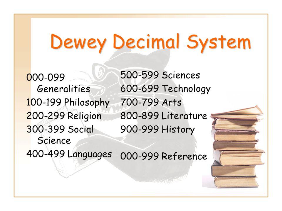 Dewey Decimal System 000-099 Generalities 100-199 Philosophy 200-299 Religion 300-399 Social Science 400-499 Languages 500-599 Sciences 600-699 Techno