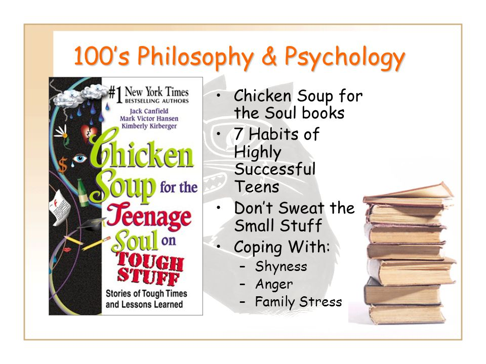 100's Philosophy & Psychology Chicken Soup for the Soul books 7 Habits of Highly Successful Teens Don't Sweat the Small Stuff Coping With: –Shyness –A
