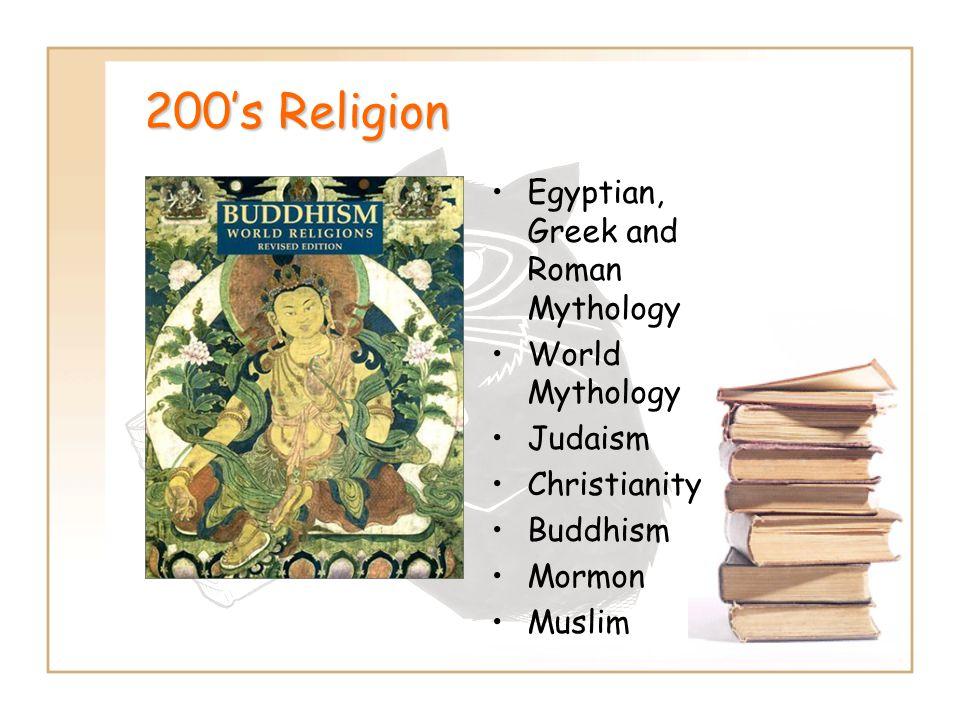 200's Religion Egyptian, Greek and Roman Mythology World Mythology Judaism Christianity Buddhism Mormon Muslim