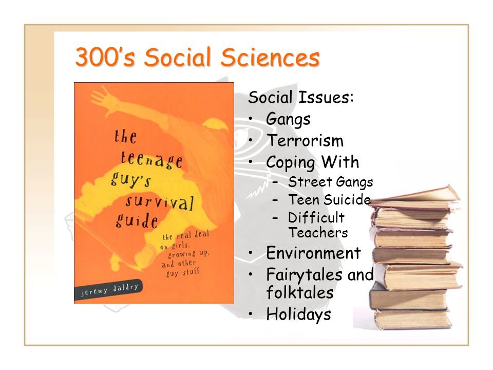 300's Social Sciences Social Issues: Gangs Terrorism Coping With –Street Gangs –Teen Suicide –Difficult Teachers Environment Fairytales and folktales Holidays