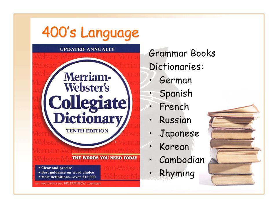 400's Language Grammar Books Dictionaries: German Spanish French Russian Japanese Korean Cambodian Rhyming