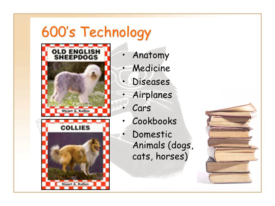 600's Technology Anatomy Medicine Diseases Airplanes Cars Cookbooks Domestic Animals (dogs, cats, horses)