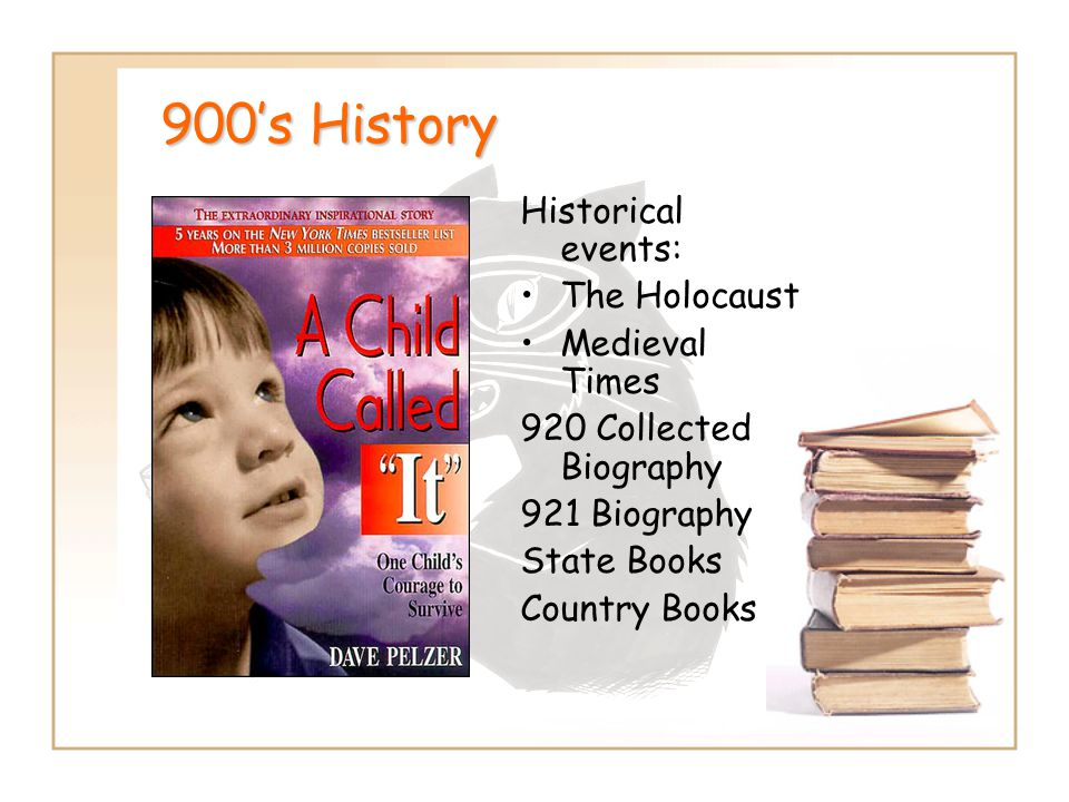 900's History Historical events: The Holocaust Medieval Times 920 Collected Biography 921 Biography State Books Country Books