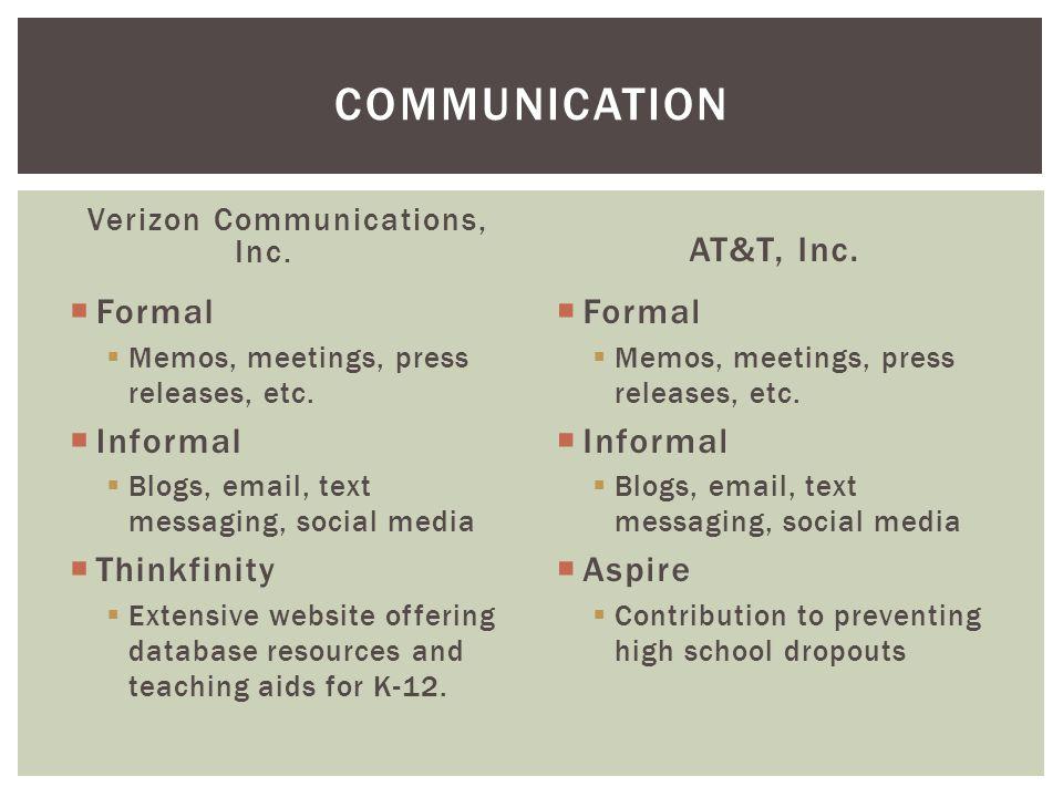 Verizon Communications, Inc.  Formal  Memos, meetings, press releases, etc.