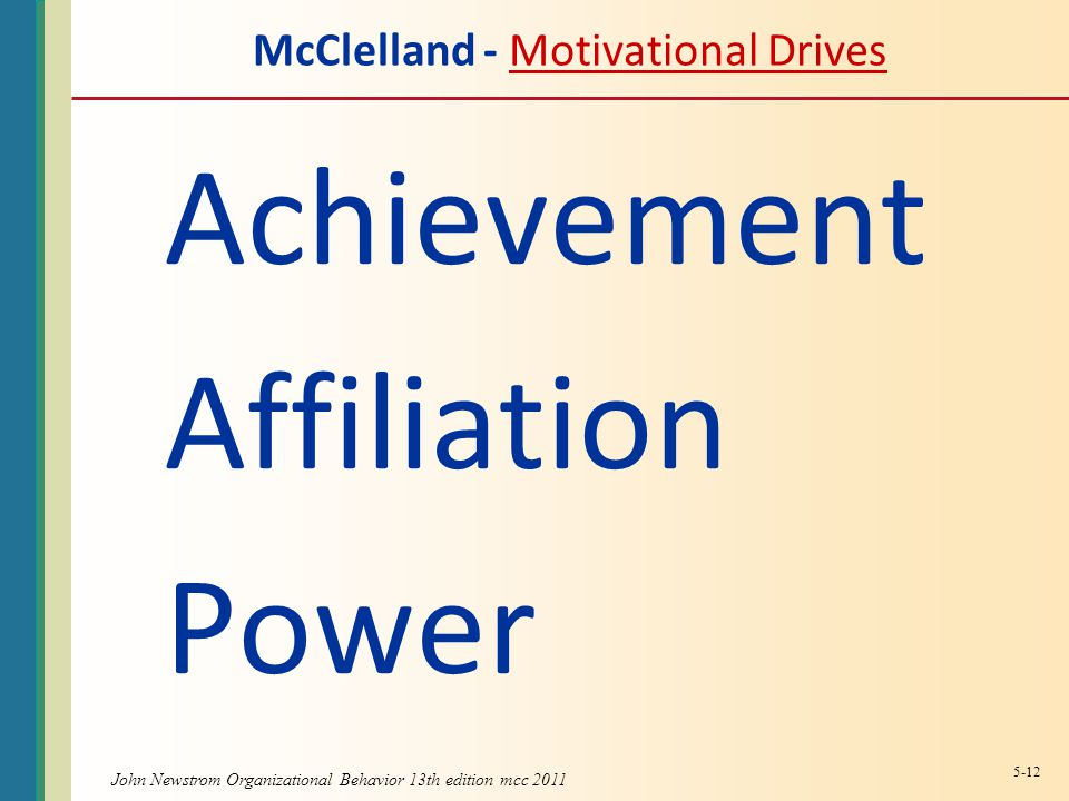 McClelland - Motivational DrivesMotivational Drives Achievement Affiliation Power 5-12
